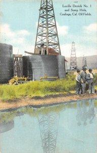 Coalinga California Lucille Dettick and Sump Hole Oil Fields antique pc CC26