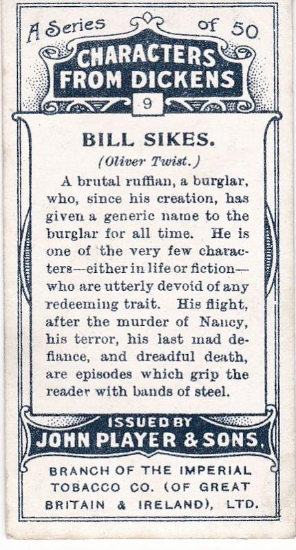 Cigarette Cards Players Characters From Dickens No 9 Bill Sikes
