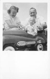 21-Month-Old Michael Rides in Murray Pedal-City Fire Dept Car RPPC 1951 Postcard