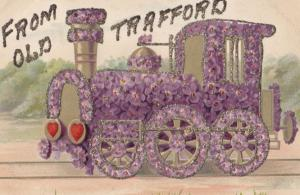Old Trafford ANTIQUE REAL GLITTER Purple Floral TRAIN Manchester Old Postcard