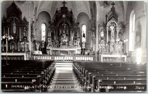 Lansing, Iowa RPPC Photo Postcard IMMACULATE CONCEPTION CHURCH Interior c1930s
