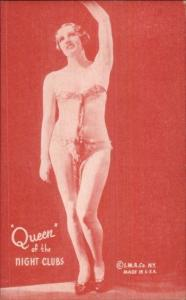 Nude Sexy Showgirl Pin-Up Exhibit Mutoscope Card RED TINT QUEEN OF NIGHT CLUBS