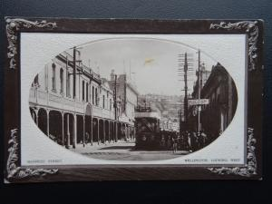New Zealand WELLINGTON Manners Street showing Trams - Old RP Postcard by F.T.