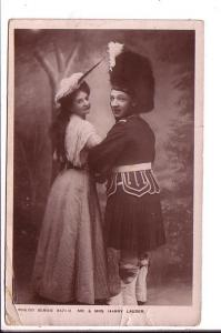 Mr and Mrs Harry Lauder, Actress and Actor, Scottish Kilt, Used Vintage Postcard