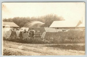 RPPC Round Pipes in Concrete Bricks~Man Cools Down Co-Workers~Cleans Stacks~1910