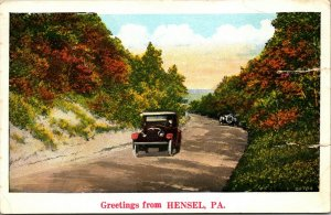 Hensel PA - PENNSYLVANIA - VINTAGE - AUTO CAR Postcard GREETINGS - PC POSTED