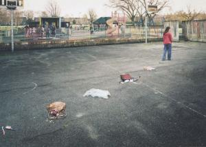Toy Doll After Playground Robbery UNIQUE London Photo Agency Art Postcard