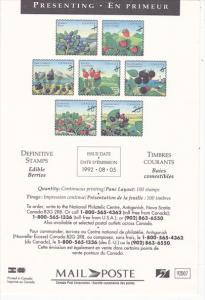 Stamps Of Canada Edible Berries 1992