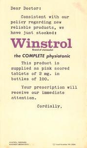 Medicine Advertising Old Vintage Antique Post Card Winstrol Unused