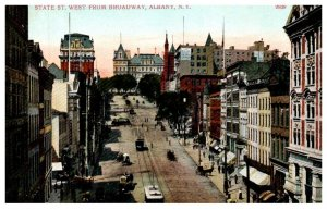 New York Albany , State street West from Broadway , Trolleys