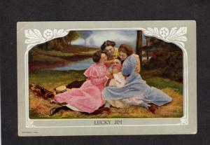 Lucky Jim Man Three Women Threesome Romance Love Vintage Postcard Carte Postale