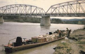 River boat , Parsnip River Bridge , B.C. , Canada , 50-60s