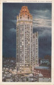 Illinois Chicago The Tribune Tower By Night 1939 sk5990