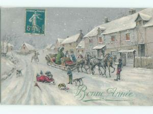 foreign c1910 Postcard HORSE-DRAWN SLED IN SNOWY STREETS OF FRANCE AC3833