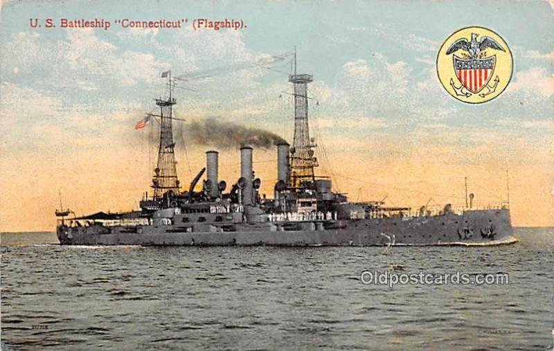 US Battleship Connecticut, Flagship Military Battleship Writing on back