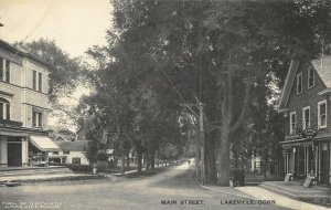 Lakeville CT Main Street Ice Cream Lunch Storefronts Postcard