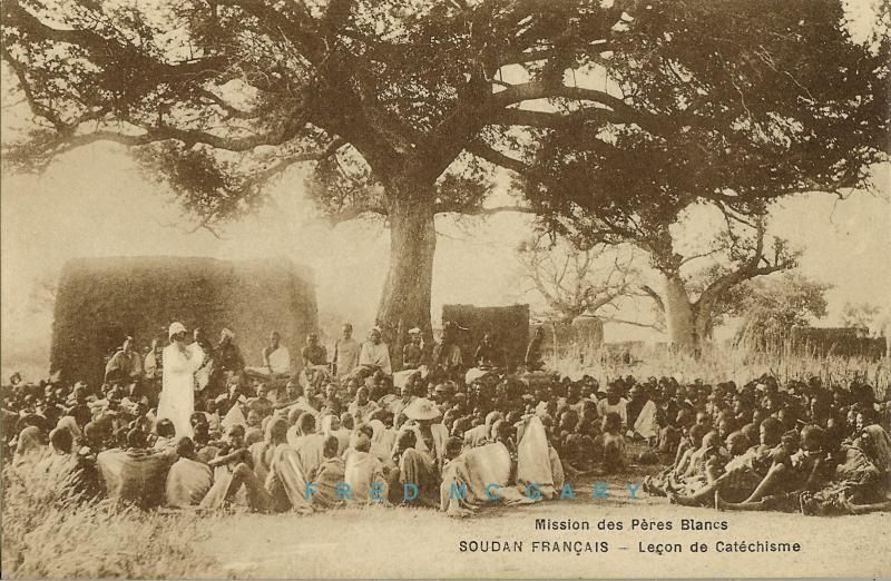 1920 French Sudan Postcard: White Father Teaching Natives Their Catechism
