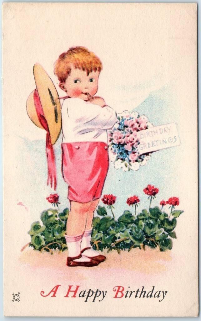 Vintage Birthday Greetings Postcard Boy W Flower Bouquet Unused