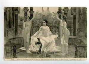 215378 NUDE Nymph GODDESS Graces Casino Vintage postcard
