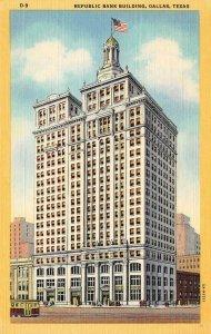 Republic Bank Building, Dallas, Texas c1940s Vintage Linen Postcard