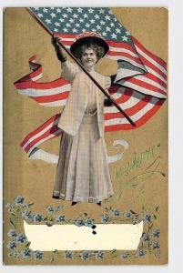 PPC POSTCARD PATRIOTIC AMERICAN FLAG GIRL WAIVING FLAG SOUVENIR OF