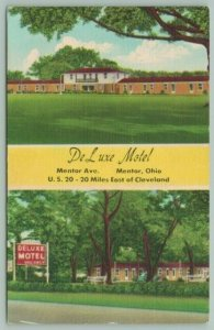 Mentor Ohio~Duncan Hines DeLuxe Motel~Front & Rear Views~1940s Roadside