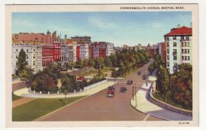 P131 JLs 1930-45 linen postcard commonwealth ave cars boston