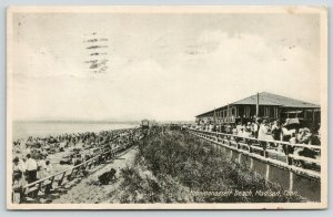 Madison Connecticut~Hammonassett Beach~Lots of People on Beach-Pier~1920s