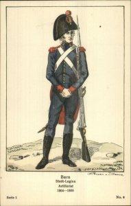 Swiss Army Uniform Gun Series 1 #6 c1910 Postcard BERN ARTILLERIST