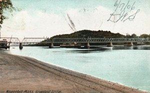 Vintage Postcard 1906 Groveland Bridge Haverhill Massachusetts Pub Hugh Leighton