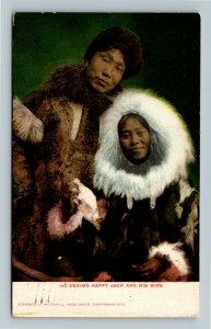Native Americana - Eskimo Happy Jack and His Wife Indian Vintage c1907 Postcard