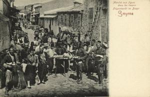 ottoman turkey, SMYRNE SMYRNA, Fig Market in Bazar (1899)