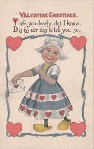 Valentine's Day Young Dutch Girl With Card