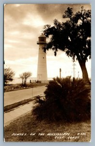 MISSISSIPPI GULF COAST LIGHT HOUSE MS VINTAGE REAL PHOTO POSTCARD RPPC