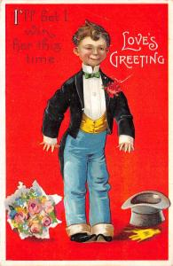 Clapsaddle Valentine~I'll Win Her This Time~Boy in Tux~Top Hat~Bouquet~Red Back