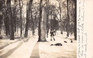 Real Photo Postcard~Dandy Man With Ax~Huge Tree~How I Look at Work~6 Acres~1908
