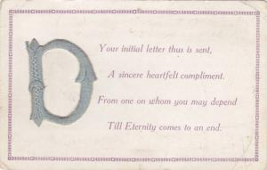 Stitched Large Latter D, Greetings, PU-1944
