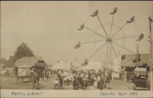 Taunton MA Ferris Wheel Carnival Fair c1905 Real Photo Postcard