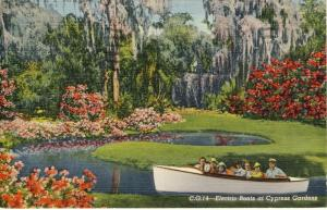 Cypress Gardens, Florida/FL Postcard, Electric Boats, 1941!