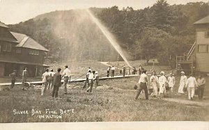 Silver Bay NY Fire Department in Action Testing Equipment Real Photo Postcard