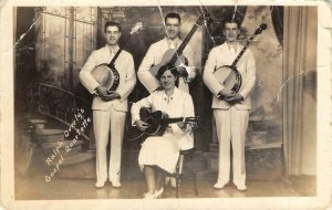 RPPC Ralph Overly's Gospel Quartette Guitars, Banjos Band Vintage Postcard