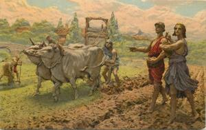 Profesor F. Pifferetti sculptor D`Annunzio poem quote agriculture oxes plough