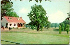 Geneva on the Lake, Ohio Postcard MUNICIPAL GOLF COURSE Club House View c1950s