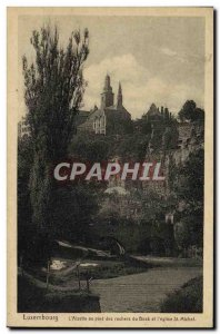 Old Postcard The Luxembourg Alzette to Pled Bock of Rocks and St Michel church