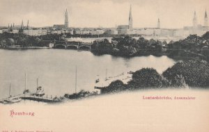 HAMBURG, Germany, 1900-1910's; Lombardsbrucke, Aussenalster