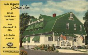 East Cleveland OH Karl Brown's Colonial Inn Colorful Linen Postcard