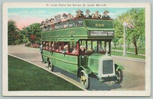 St Louis MO Passengers Fail: Arms Out of Double-Decker Bus~Carondalet Park~1920s