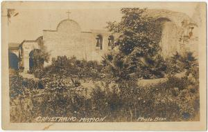 1917-1930 RPPC Old San Juan Capistrano Mission CA California Real Photo Postcard