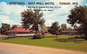 Tomah Wisconsin~Rest Well Motel~Across from Airport~1960s Station Wagon~Cars