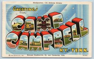 Postcard KY TN Camp Campbell Large Letter Greetings Vintage Linen Rare View L18